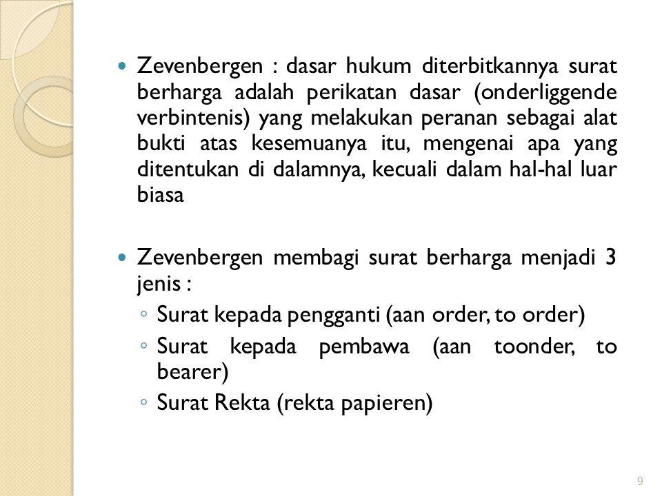 Zevenbergen : dasar hukum diterbitkannya surat berharga adalah perikatan dasar (onderliggende verbintenis) yang melakukan peranan sebagai alat bukti a