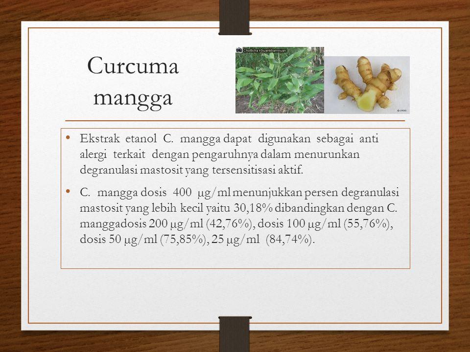Curcuma mangga Ekstrak etanol C. mangga dapat digunakan sebagai anti alergi terkait dengan pengaruhnya dalam menurunkan degranulasi mastosit yang ters