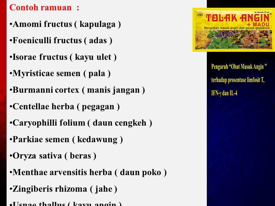 Contoh ramuan : Amomi fructus ( kapulaga ) Foeniculli fructus ( adas ) Isorae fructus ( kayu ulet ) Myristicae semen ( pala ) Burmanni cortex ( manis