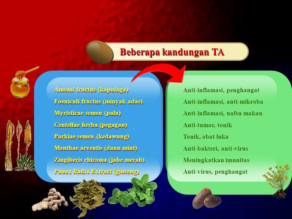 Amomi fructus (kapulaga) Foeniculi fructus (minyak adas) Myristicae semen (pala) Centellae herba (pegagan) Parkiae semen (kedawung) Menthae arventis (