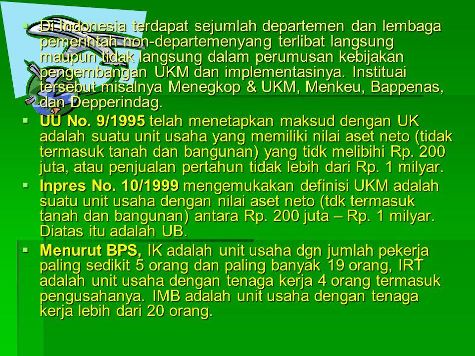  Di Indonesia terdapat sejumlah departemen dan lembaga pemerintah non-departemenyang terlibat langsung maupun tidak langsung dalam perumusan kebijakan pengembangan UKM dan implementasinya.
