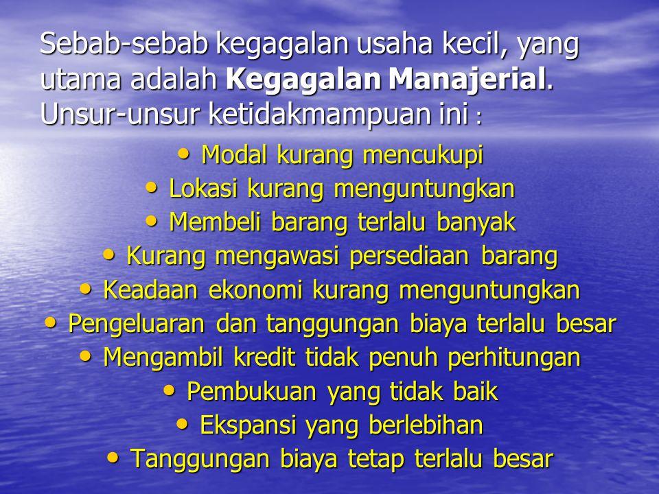Sebab-sebab kegagalan usaha kecil, yang utama adalah Kegagalan Manajerial.