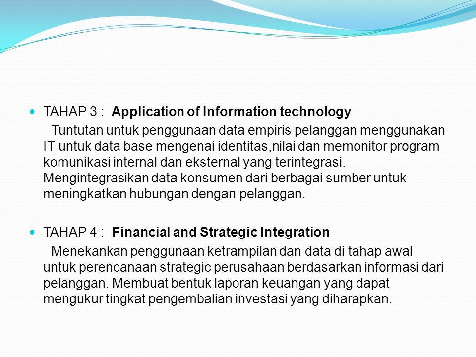 TAHAP 3 : Application of Information technology Tuntutan untuk penggunaan data empiris pelanggan menggunakan IT untuk data base mengenai identitas,nil