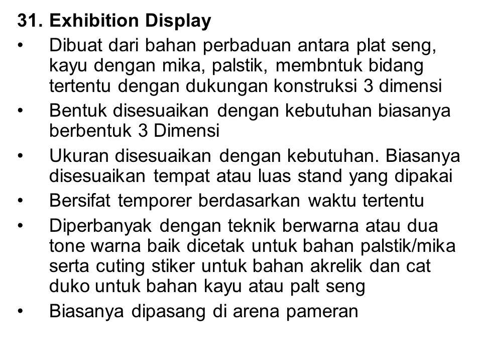 31.Exhibition Display Dibuat dari bahan perbaduan antara plat seng, kayu dengan mika, palstik, membntuk bidang tertentu dengan dukungan konstruksi 3 d