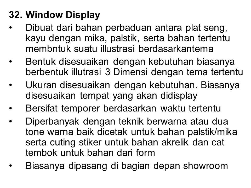 32.Window Display Dibuat dari bahan perbaduan antara plat seng, kayu dengan mika, palstik, serta bahan tertentu membntuk suatu illustrasi berdasarkant