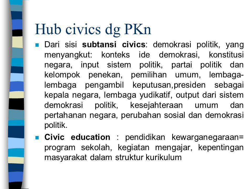 Hub civics dg PKn n Dari sisi subtansi civics: demokrasi politik, yang menyangkut: konteks ide demokrasi, konstitusi negara, input sistem politik, par