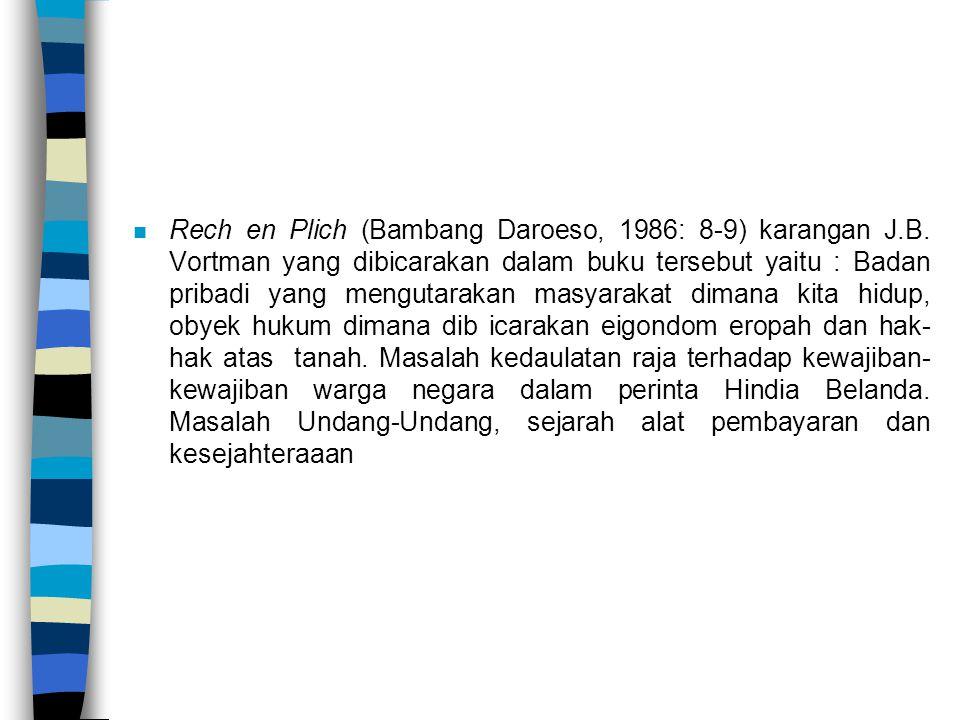 n Rech en Plich (Bambang Daroeso, 1986: 8-9) karangan J.B. Vortman yang dibicarakan dalam buku tersebut yaitu : Badan pribadi yang mengutarakan masyar