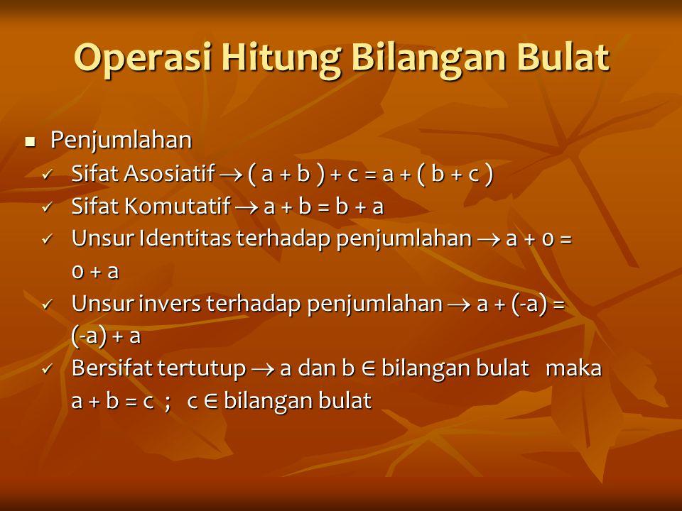 Operasi Hitung Bilangan Bulat Penjumlahan Penjumlahan Sifat Asosiatif  ( a + b ) + c = a + ( b + c ) Sifat Asosiatif  ( a + b ) + c = a + ( b + c )
