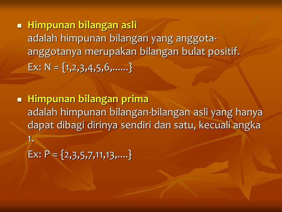 Himpunan bilangan asli adalah himpunan bilangan yang anggota- anggotanya merupakan bilangan bulat positif. Himpunan bilangan asli adalah himpunan bila