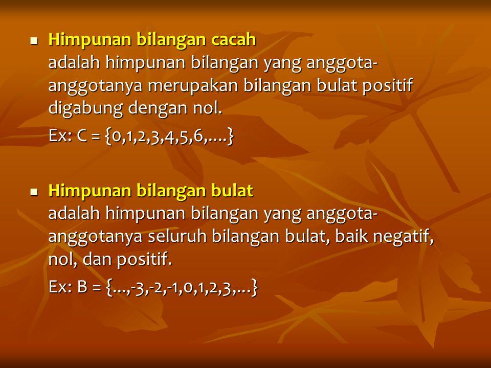 Himpunan bilangan cacah adalah himpunan bilangan yang anggota- anggotanya merupakan bilangan bulat positif digabung dengan nol. Himpunan bilangan caca