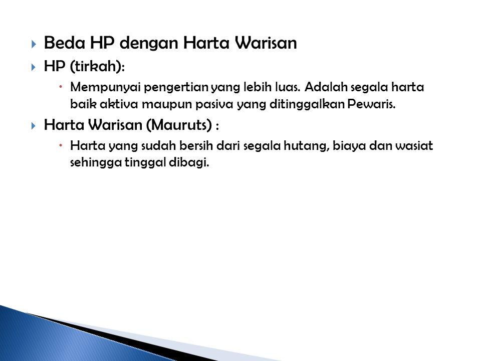  Beda HP dengan Harta Warisan  HP (tirkah):  Mempunyai pengertian yang lebih luas. Adalah segala harta baik aktiva maupun pasiva yang ditinggalkan