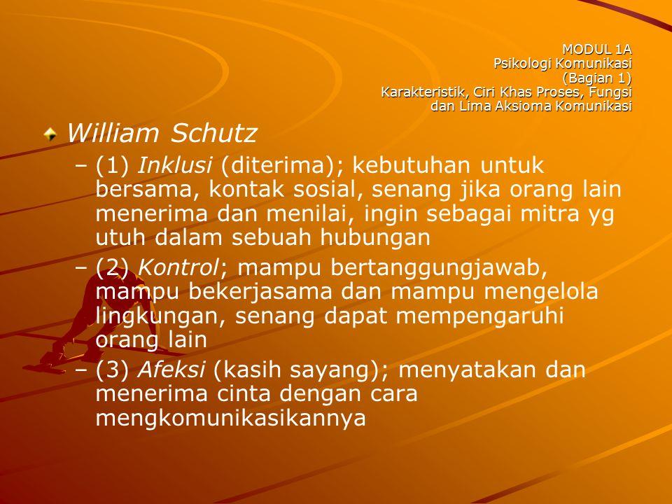 MODUL 1A Psikologi Komunikasi (Bagian 1) Karakteristik, Ciri Khas Proses, Fungsi dan Lima Aksioma Komunikasi William Schutz – –(1) Inklusi (diterima);