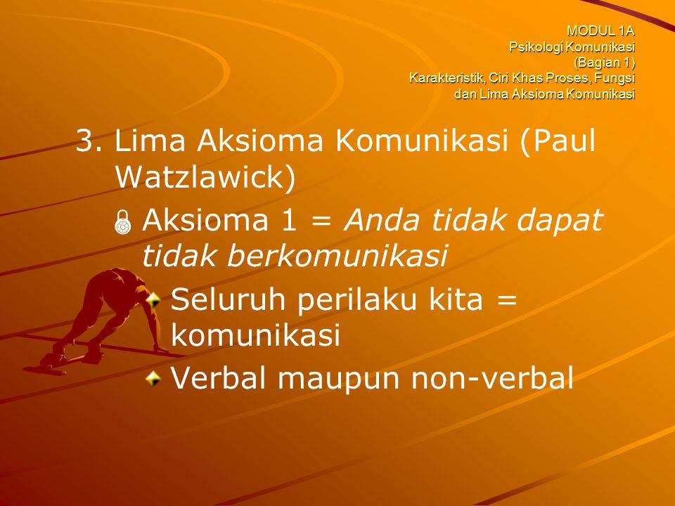 MODUL 1A Psikologi Komunikasi (Bagian 1) Karakteristik, Ciri Khas Proses, Fungsi dan Lima Aksioma Komunikasi 3. 3.Lima Aksioma Komunikasi (Paul Watzla