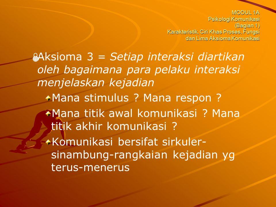 MODUL 1A Psikologi Komunikasi (Bagian 1) Karakteristik, Ciri Khas Proses, Fungsi dan Lima Aksioma Komunikasi   Aksioma 3 = Setiap interaksi diartika