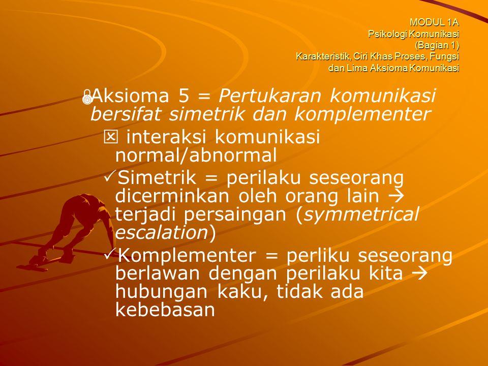 MODUL 1A Psikologi Komunikasi (Bagian 1) Karakteristik, Ciri Khas Proses, Fungsi dan Lima Aksioma Komunikasi   Aksioma 5 = Pertukaran komunikasi ber