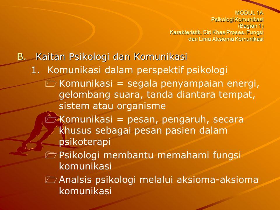 MODUL 1A Psikologi Komunikasi (Bagian 1) Karakteristik, Ciri Khas Proses, Fungsi dan Lima Aksioma Komunikasi B.Kaitan Psikologi dan Komunikasi 1. 1.Ko