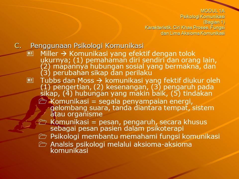 MODUL 1A Psikologi Komunikasi (Bagian 1) Karakteristik, Ciri Khas Proses, Fungsi dan Lima Aksioma Komunikasi C.Penggunaan Psikologi Komunikasi   Mil