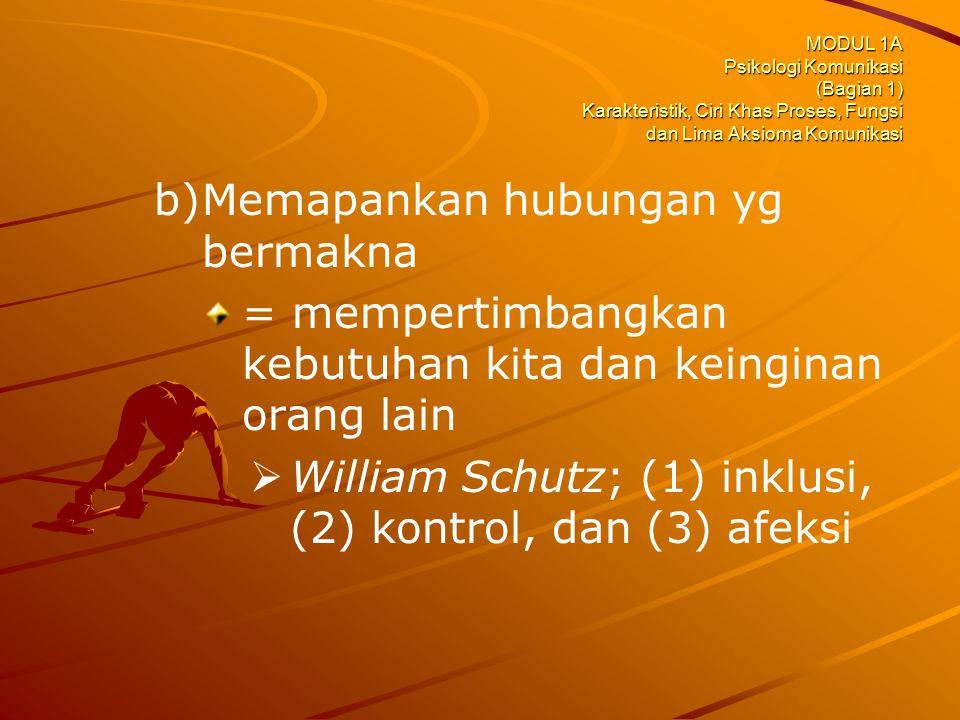 MODUL 1A Psikologi Komunikasi (Bagian 1) Karakteristik, Ciri Khas Proses, Fungsi dan Lima Aksioma Komunikasi b) b)Memapankan hubungan yg bermakna = me