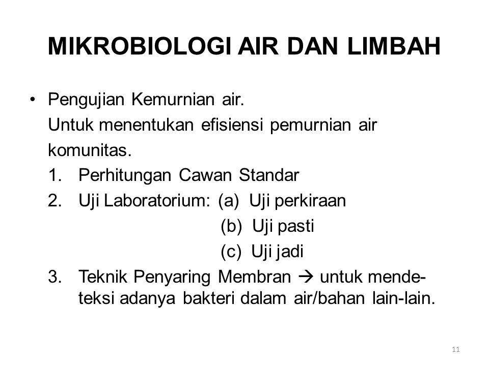 MIKROBIOLOGI AIR DAN LIMBAH Pengujian Kemurnian air. Untuk menentukan efisiensi pemurnian air komunitas. 1.Perhitungan Cawan Standar 2.Uji Laboratoriu