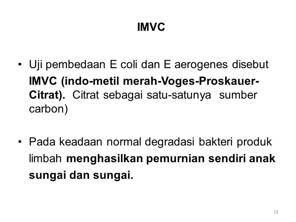 IMVC Uji pembedaan E coli dan E aerogenes disebut IMVC (indo-metil merah-Voges-Proskauer- Citrat). Citrat sebagai satu-satunya sumber carbon) Pada kea