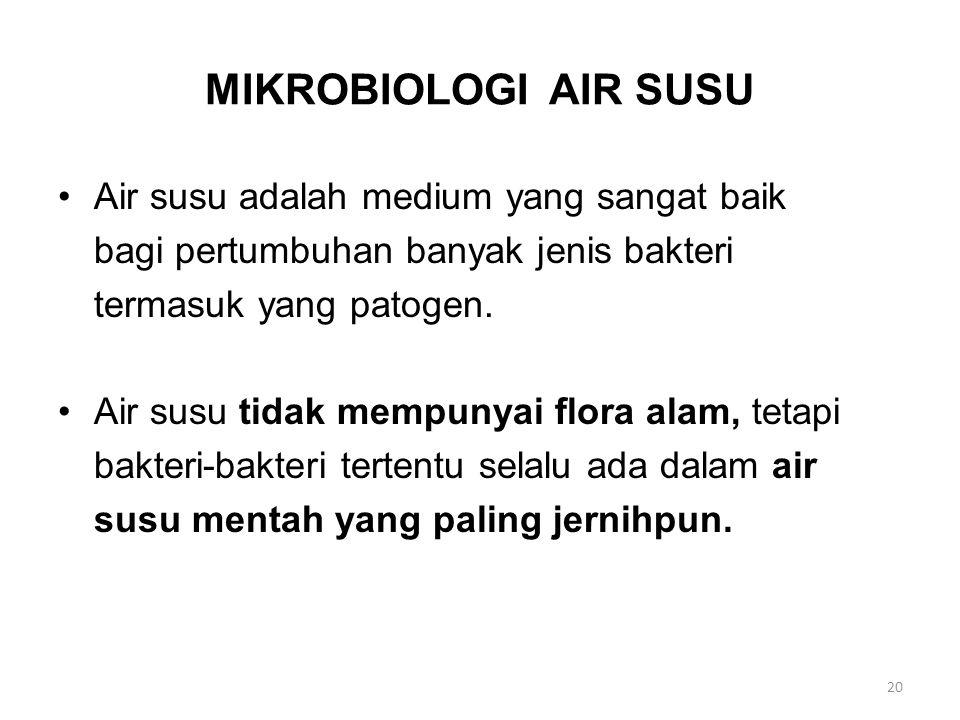 MIKROBIOLOGI AIR SUSU Air susu adalah medium yang sangat baik bagi pertumbuhan banyak jenis bakteri termasuk yang patogen. Air susu tidak mempunyai fl