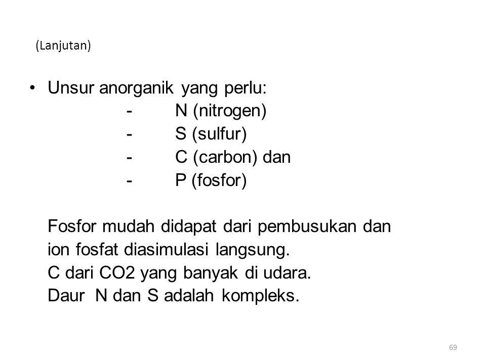 (Lanjutan) Unsur anorganik yang perlu: -N (nitrogen) -S (sulfur) -C (carbon) dan -P (fosfor) Fosfor mudah didapat dari pembusukan dan ion fosfat diasimulasi langsung.