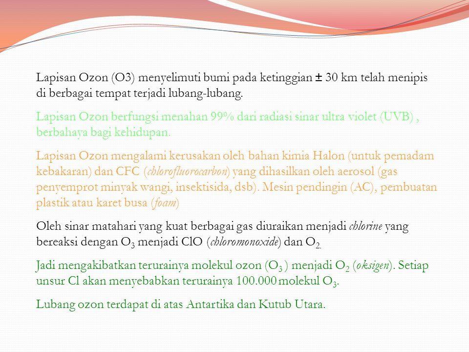 Lapisan Ozon (O3) menyelimuti bumi pada ketinggian ± 30 km telah menipis di berbagai tempat terjadi lubang-lubang.