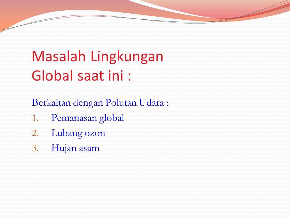 Masalah Lingkungan Global saat ini : Berkaitan dengan Polutan Udara : 1. Pemanasan global 2. Lubang ozon 3. Hujan asam