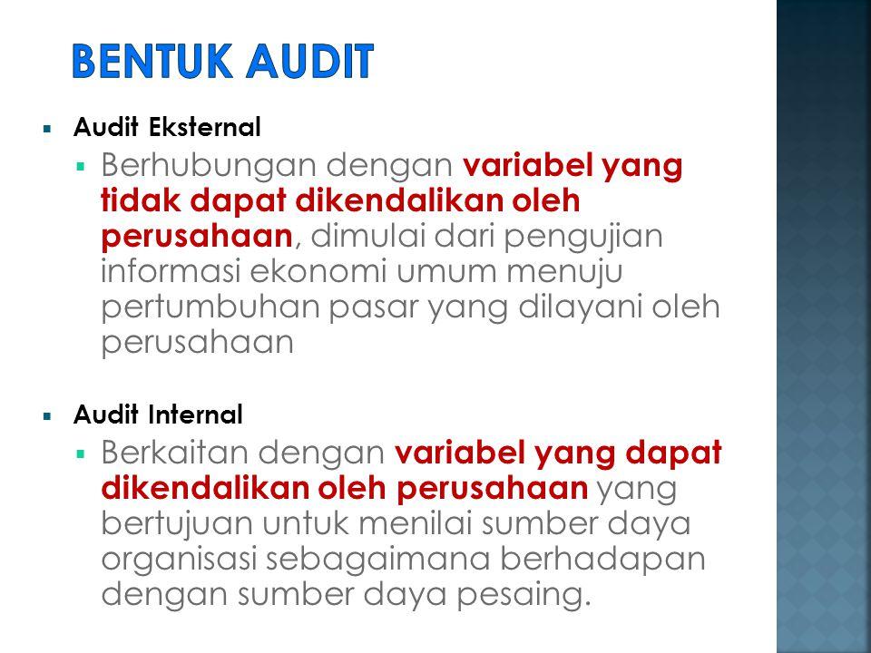  Audit Eksternal  Berhubungan dengan variabel yang tidak dapat dikendalikan oleh perusahaan, dimulai dari pengujian informasi ekonomi umum menuju pe