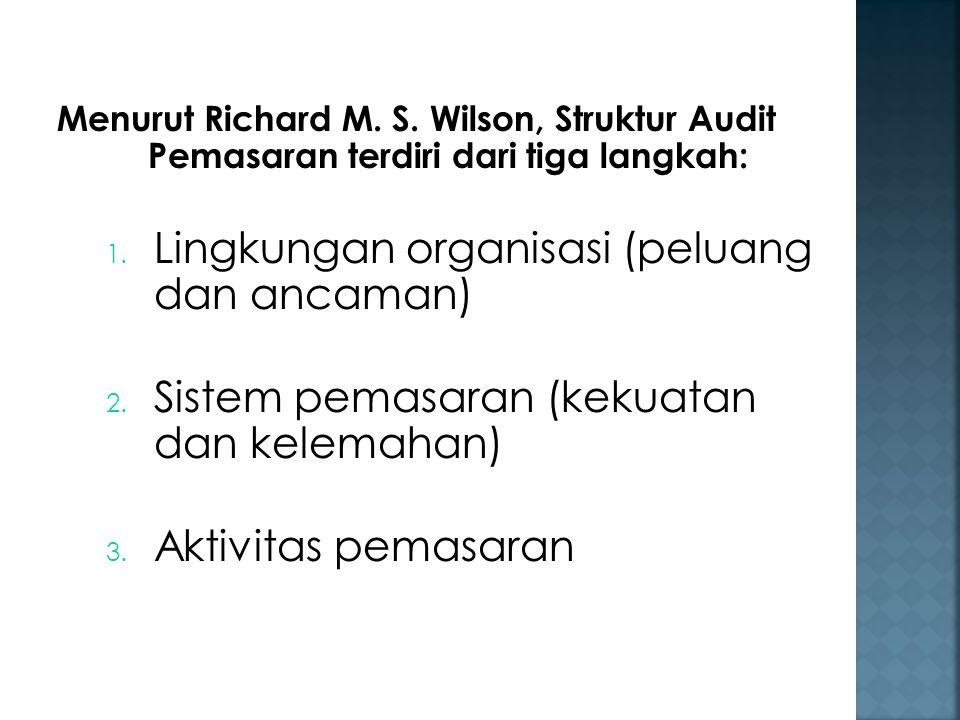 Menurut Richard M. S. Wilson, Struktur Audit Pemasaran terdiri dari tiga langkah: 1. Lingkungan organisasi (peluang dan ancaman) 2. Sistem pemasaran (