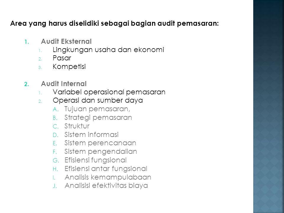 Area yang harus diselidiki sebagai bagian audit pemasaran: 1. Audit Eksternal 1. Lingkungan usaha dan ekonomi 2. Pasar 3. Kompetisi 2. Audit Internal