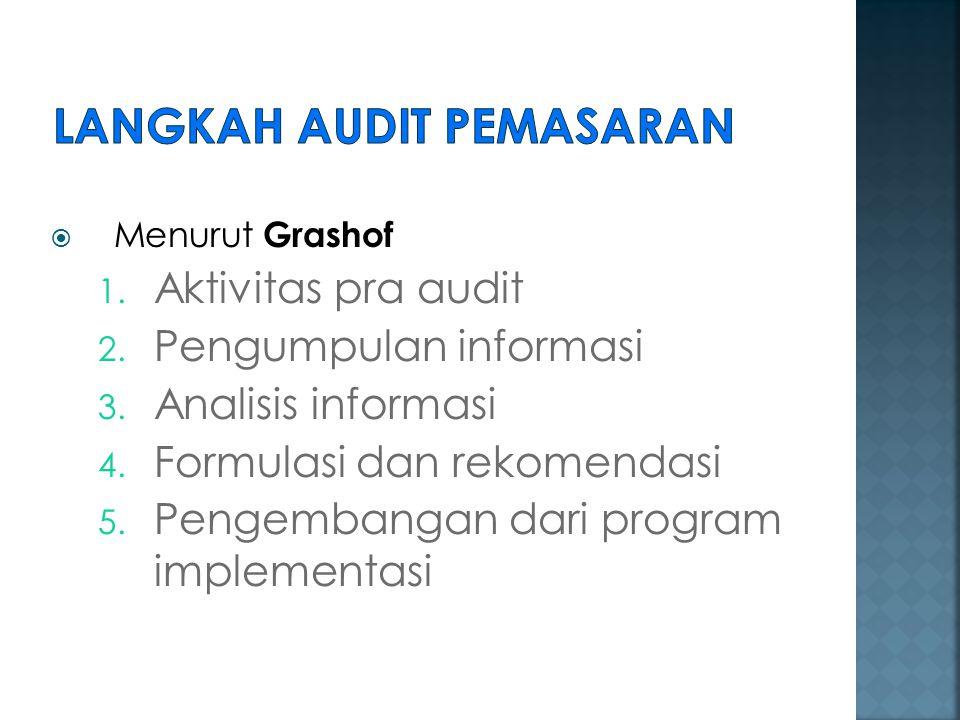  Menurut Grashof 1. Aktivitas pra audit 2. Pengumpulan informasi 3. Analisis informasi 4. Formulasi dan rekomendasi 5. Pengembangan dari program impl