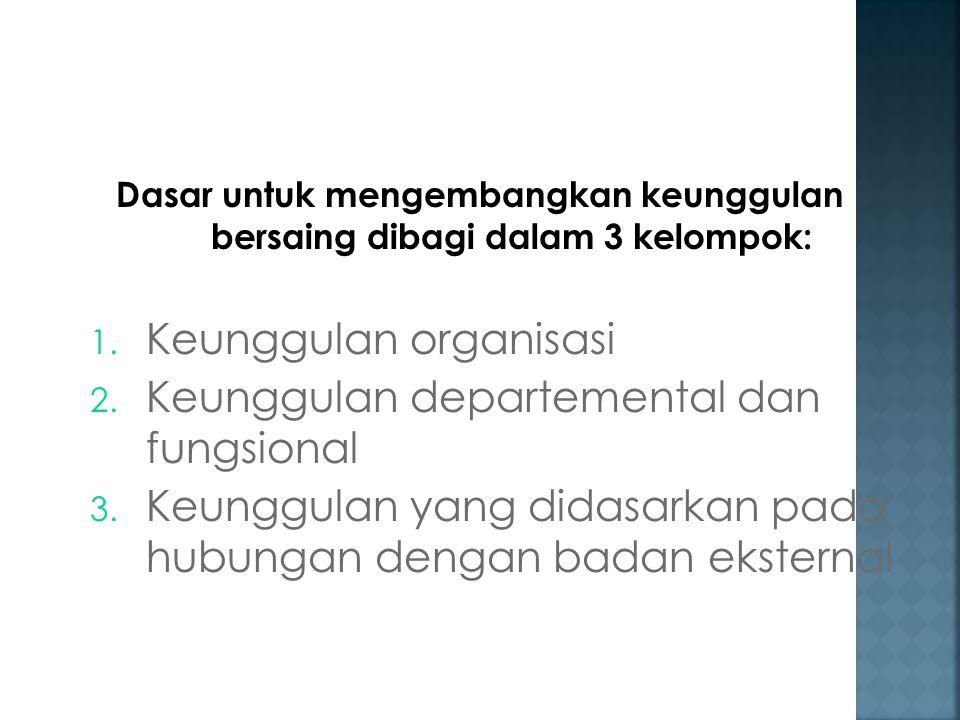 Dasar untuk mengembangkan keunggulan bersaing dibagi dalam 3 kelompok: 1. Keunggulan organisasi 2. Keunggulan departemental dan fungsional 3. Keunggul