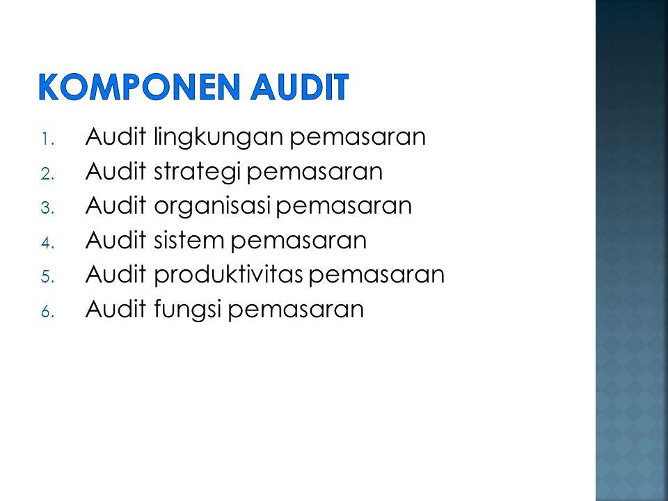 1. Audit lingkungan pemasaran 2. Audit strategi pemasaran 3. Audit organisasi pemasaran 4. Audit sistem pemasaran 5. Audit produktivitas pemasaran 6.
