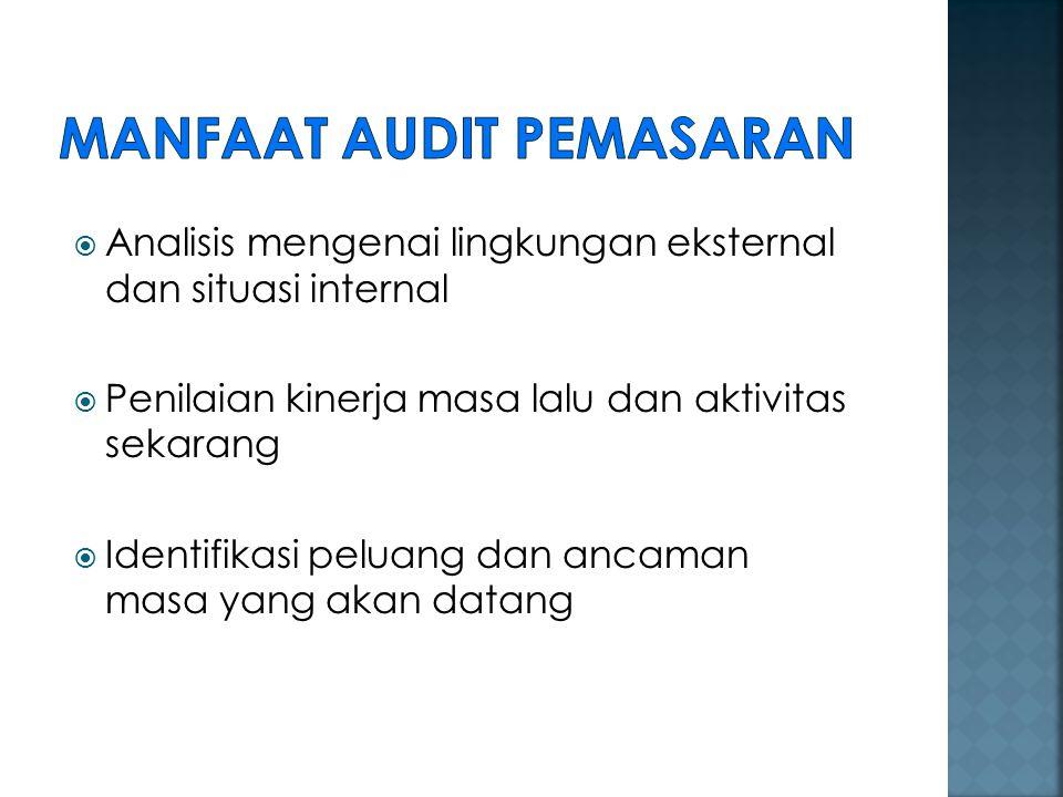 1.Audit lingkungan pemasaran 2. Audit strategi pemasaran 3.