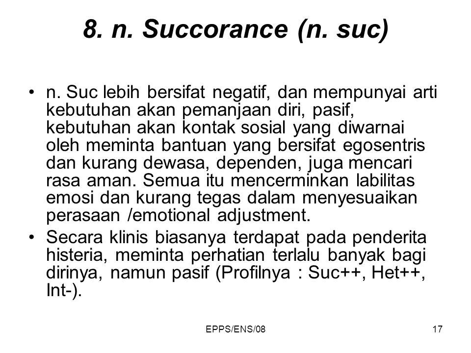 EPPS/ENS/0817 8. n. Succorance (n. suc) n. Suc lebih bersifat negatif, dan mempunyai arti kebutuhan akan pemanjaan diri, pasif, kebutuhan akan kontak