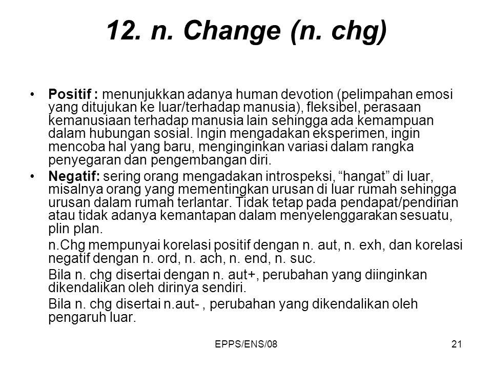 EPPS/ENS/0821 12. n. Change (n. chg) Positif : menunjukkan adanya human devotion (pelimpahan emosi yang ditujukan ke luar/terhadap manusia), fleksibel