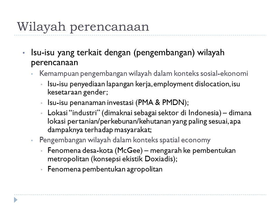 Wilayah perencanaan Isu-isu yang terkait dengan (pengembangan) wilayah perencanaan Kemampuan pengembangan wilayah dalam konteks sosial-ekonomi Isu-isu