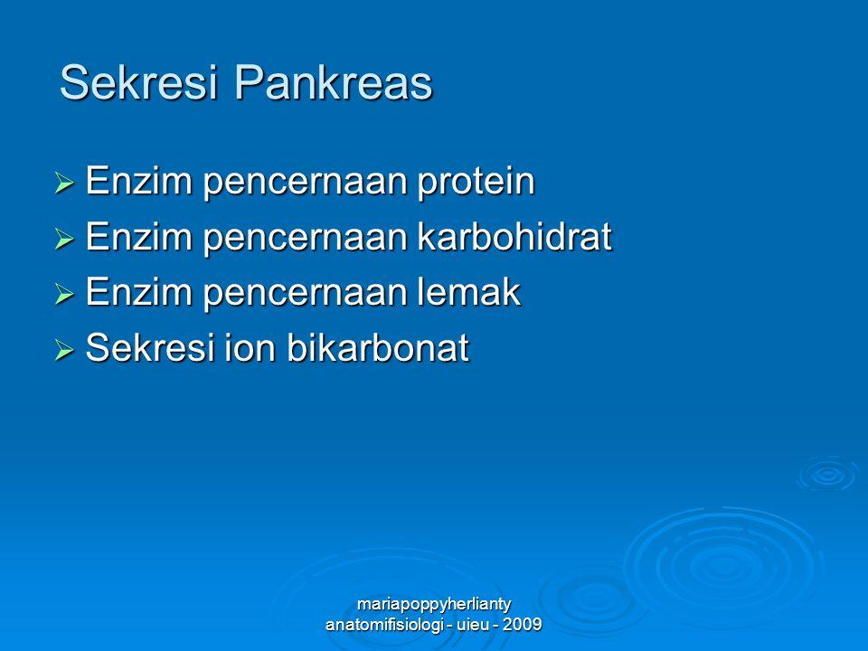 mariapoppyherlianty anatomifisiologi - uieu - 2009 Sekresi Pankreas  Enzim pencernaan protein  Enzim pencernaan karbohidrat  Enzim pencernaan lemak  Sekresi ion bikarbonat