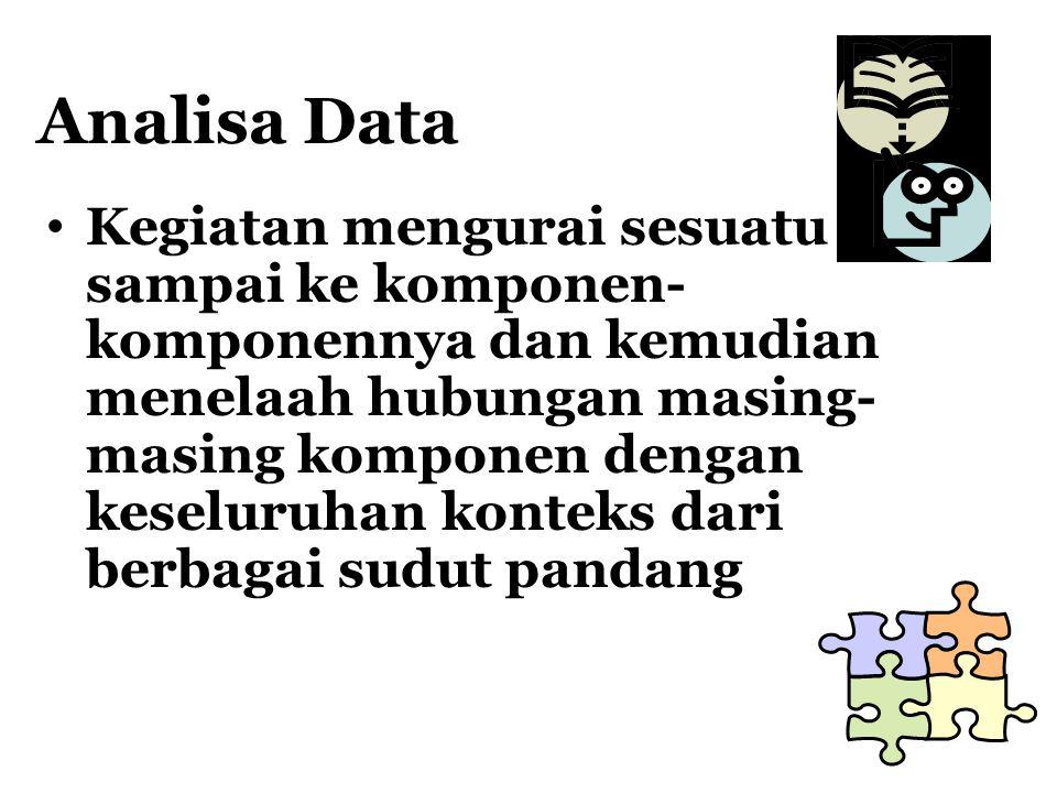 Analisa Data Kegiatan mengurai sesuatu sampai ke komponen- komponennya dan kemudian menelaah hubungan masing- masing komponen dengan keseluruhan konte