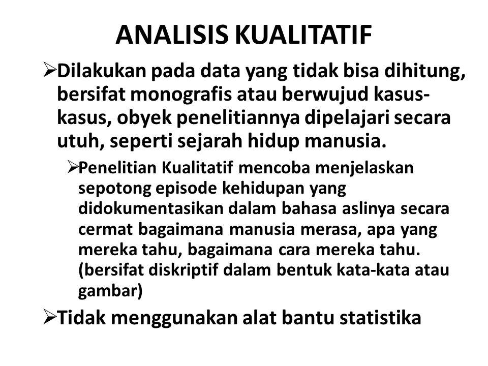 ANALISIS KUALITATIF  Dilakukan pada data yang tidak bisa dihitung, bersifat monografis atau berwujud kasus- kasus, obyek penelitiannya dipelajari sec