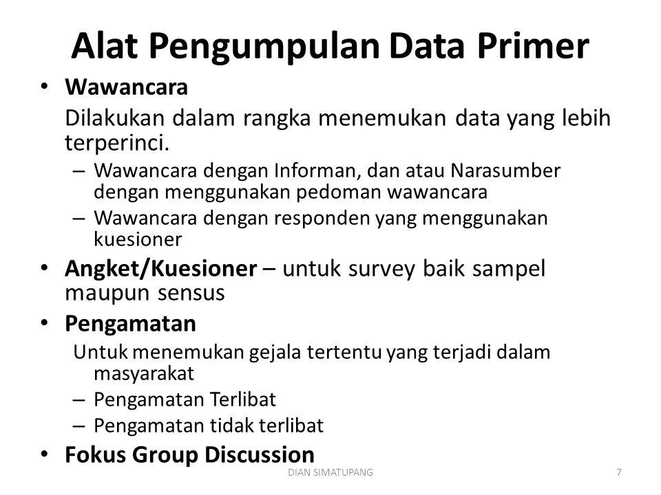 DIAN SIMATUPANG7 Alat Pengumpulan Data Primer Wawancara Dilakukan dalam rangka menemukan data yang lebih terperinci. – Wawancara dengan Informan, dan