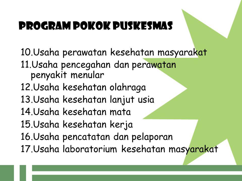 PROGRAM POKOK PUSKESMAS 10.Usaha perawatan kesehatan masyarakat 11.Usaha pencegahan dan perawatan penyakit menular 12.Usaha kesehatan olahraga 13.Usah