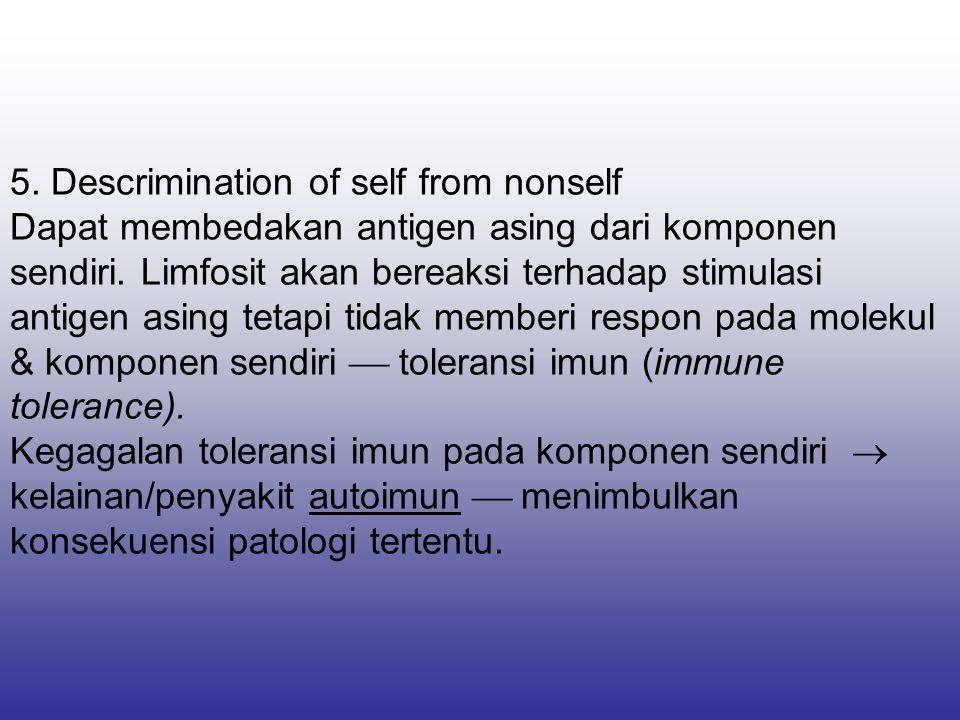 5. Descrimination of self from nonself Dapat membedakan antigen asing dari komponen sendiri. Limfosit akan bereaksi terhadap stimulasi antigen asing t