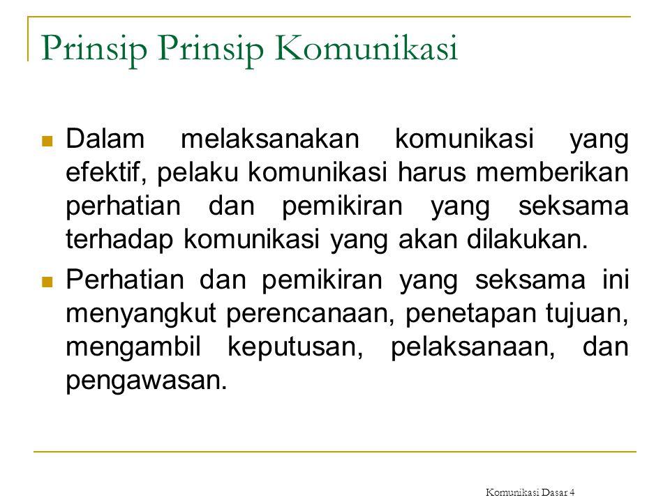 Komunikasi Dasar 4 Prinsip Prinsip Komunikasi Dalam melaksanakan komunikasi yang efektif, pelaku komunikasi harus memberikan perhatian dan pemikiran y