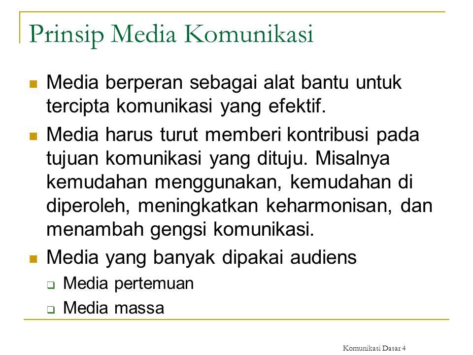 Komunikasi Dasar 4 Prinsip Media Komunikasi Media berperan sebagai alat bantu untuk tercipta komunikasi yang efektif. Media harus turut memberi kontri