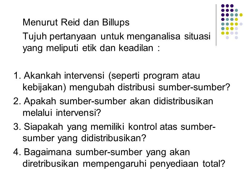 Menurut Reid dan Billups Tujuh pertanyaan untuk menganalisa situasi yang meliputi etik dan keadilan : 1. Akankah intervensi (seperti program atau kebi