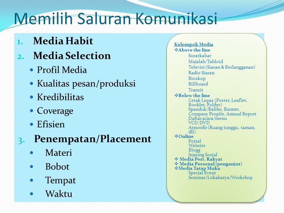 Memilih Saluran Komunikasi 1. Media Habit 2. Media Selection Profil Media Kualitas pesan/produksi Kredibilitas Coverage Efisien 3. Penempatan/Placemen