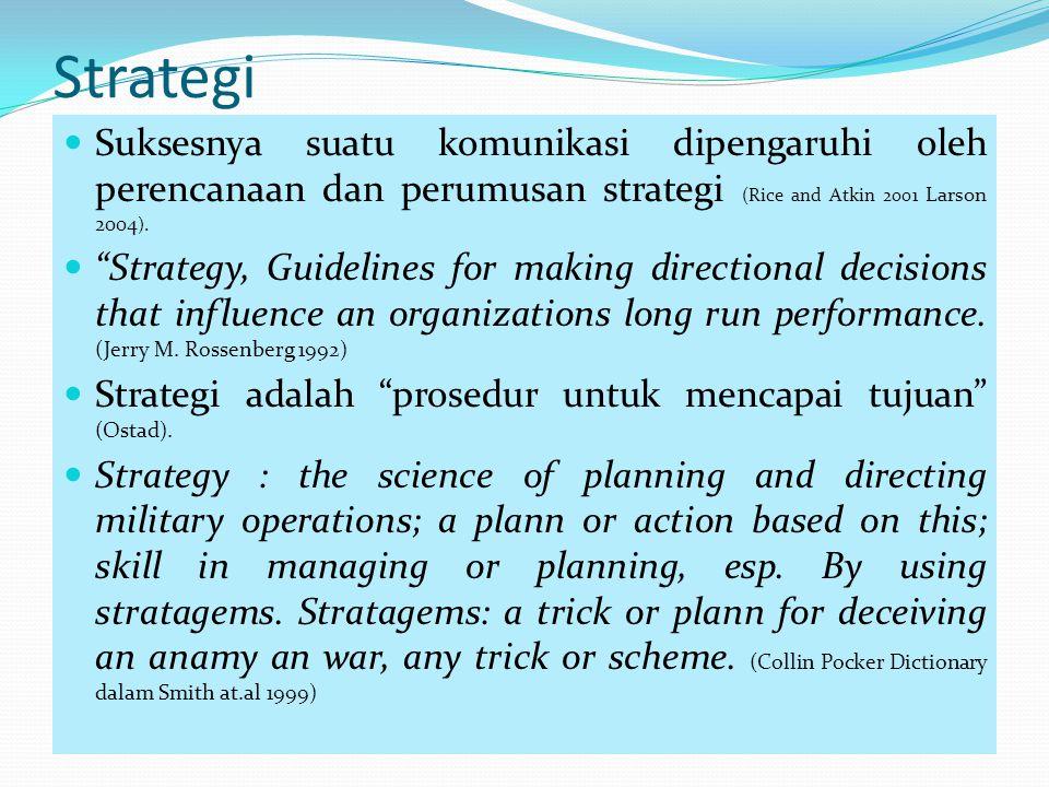 """Strategi Suksesnya suatu komunikasi dipengaruhi oleh perencanaan dan perumusan strategi (Rice and Atkin 2001 Larson 2004 ). """"Strategy, Guidelines for"""
