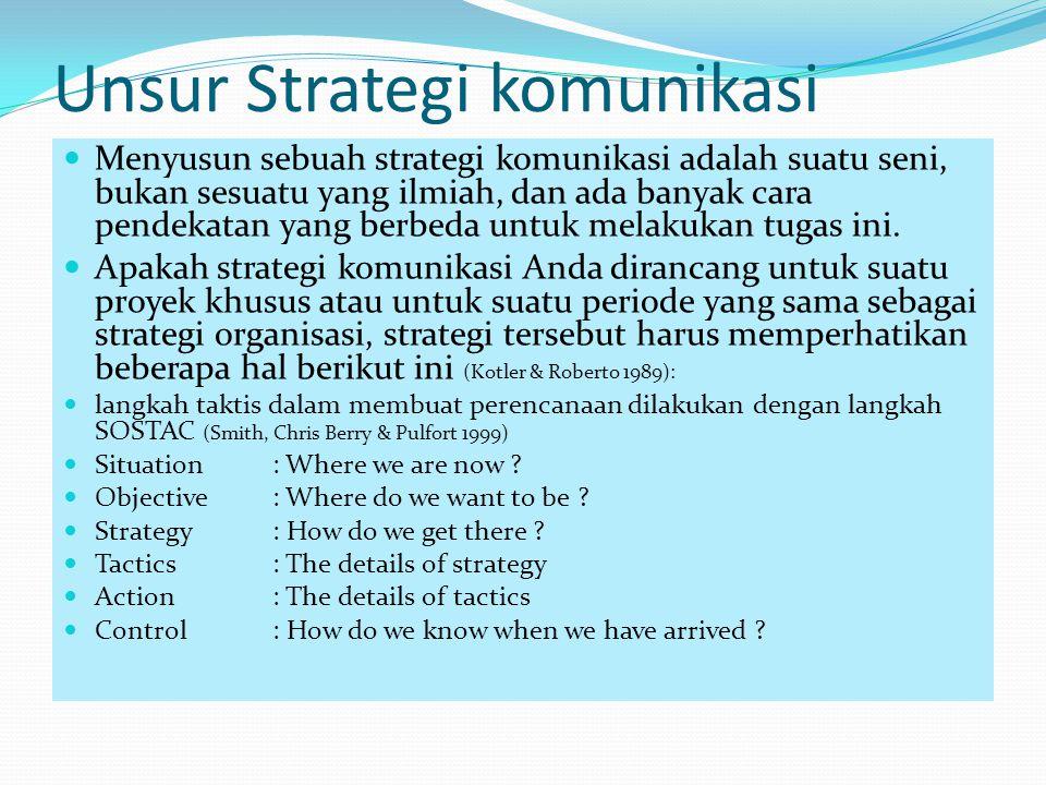 Unsur Strategi komunikasi Menyusun sebuah strategi komunikasi adalah suatu seni, bukan sesuatu yang ilmiah, dan ada banyak cara pendekatan yang berbed